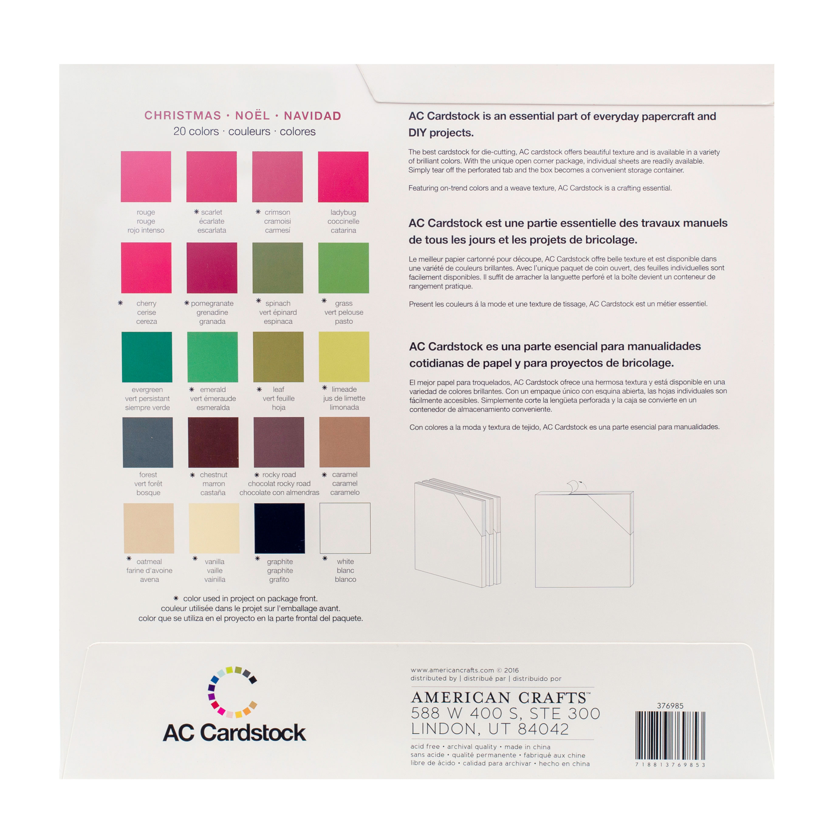 12X12 – CARDSTOCK PACK – CHRISTMAS – American Crafts