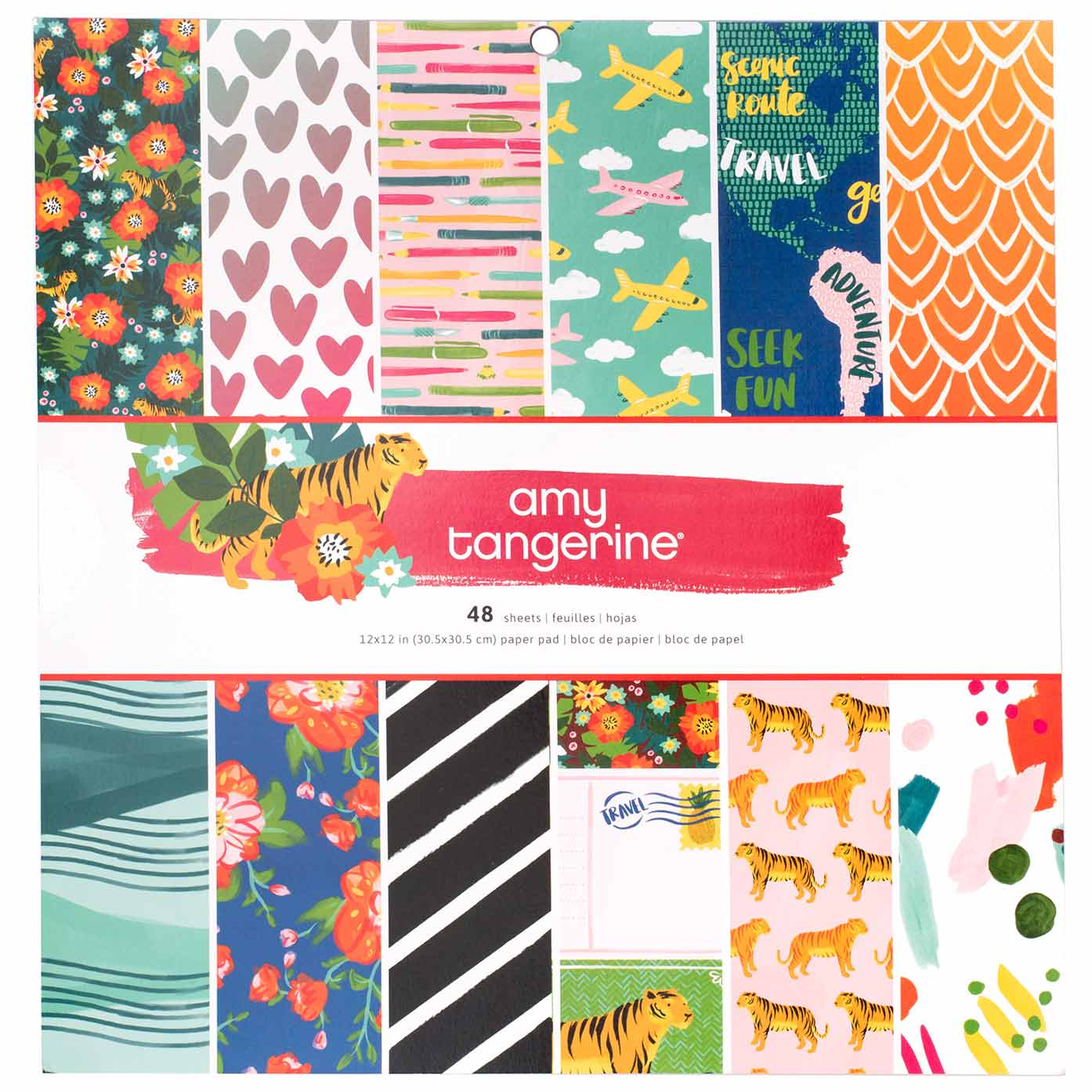 """48 Sheets American Crafts 12/"""" x 12/"""" Hustle and Heart Single-Sided Paper Pad"""