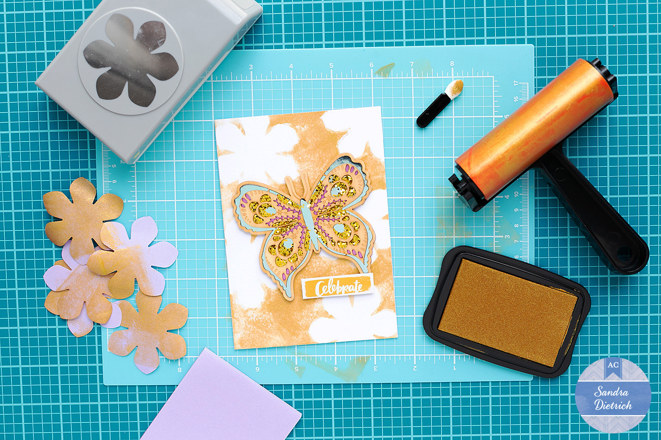 Create a floral background with a brayer