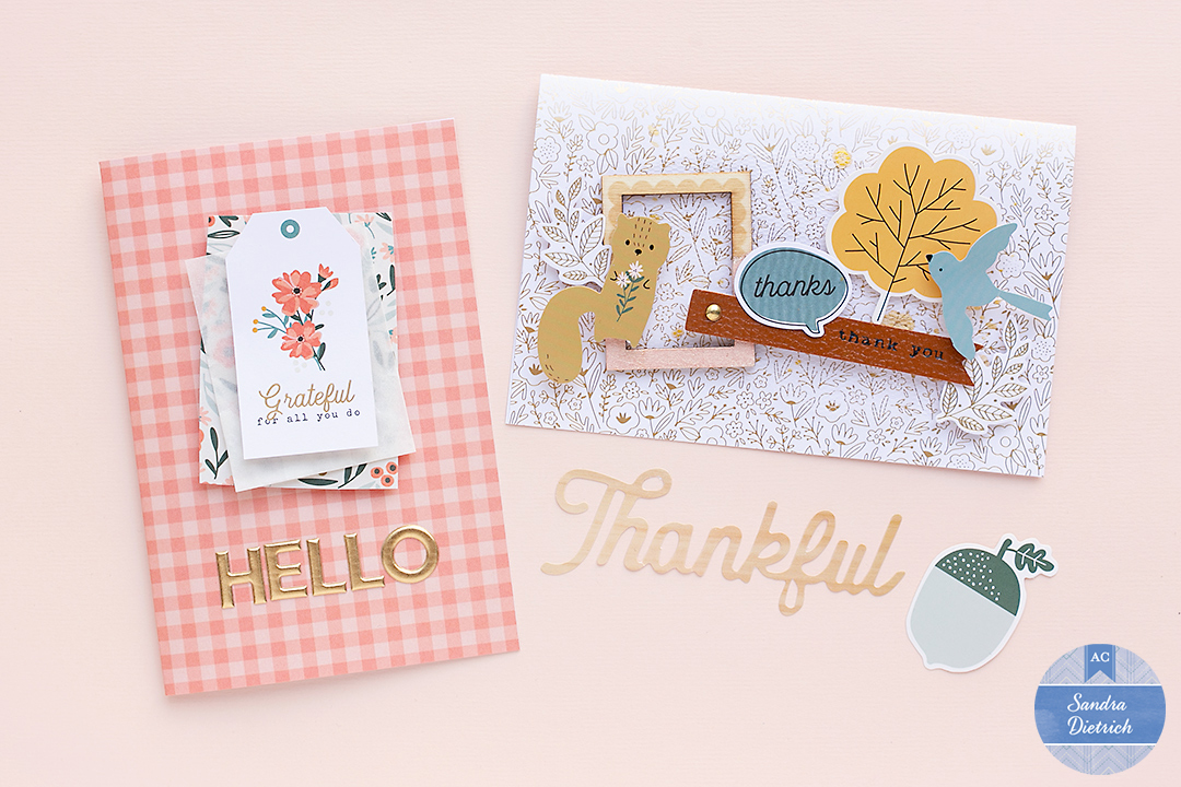 Two cute Fall greeting cards with 'The Avenue' Collection by Jen Hadfield.