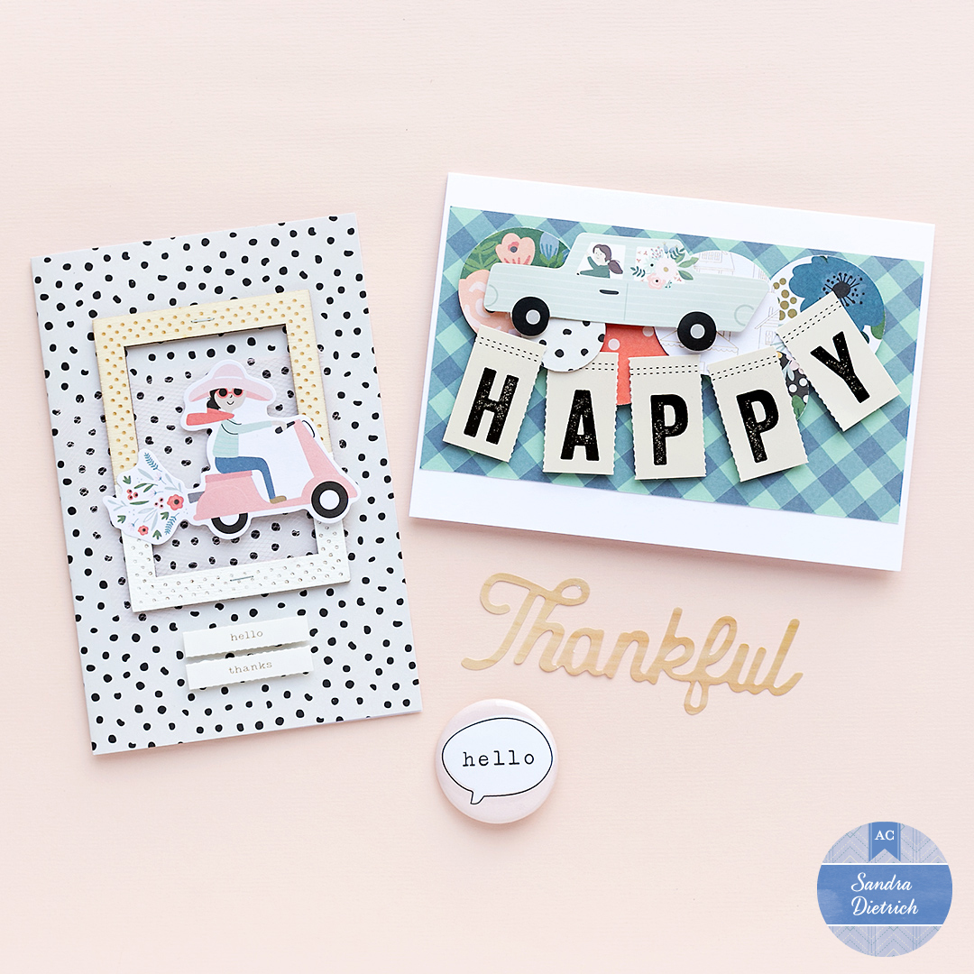 Two Fall greeting cards. One has a customized wooden frame. The other says 'Happy'.