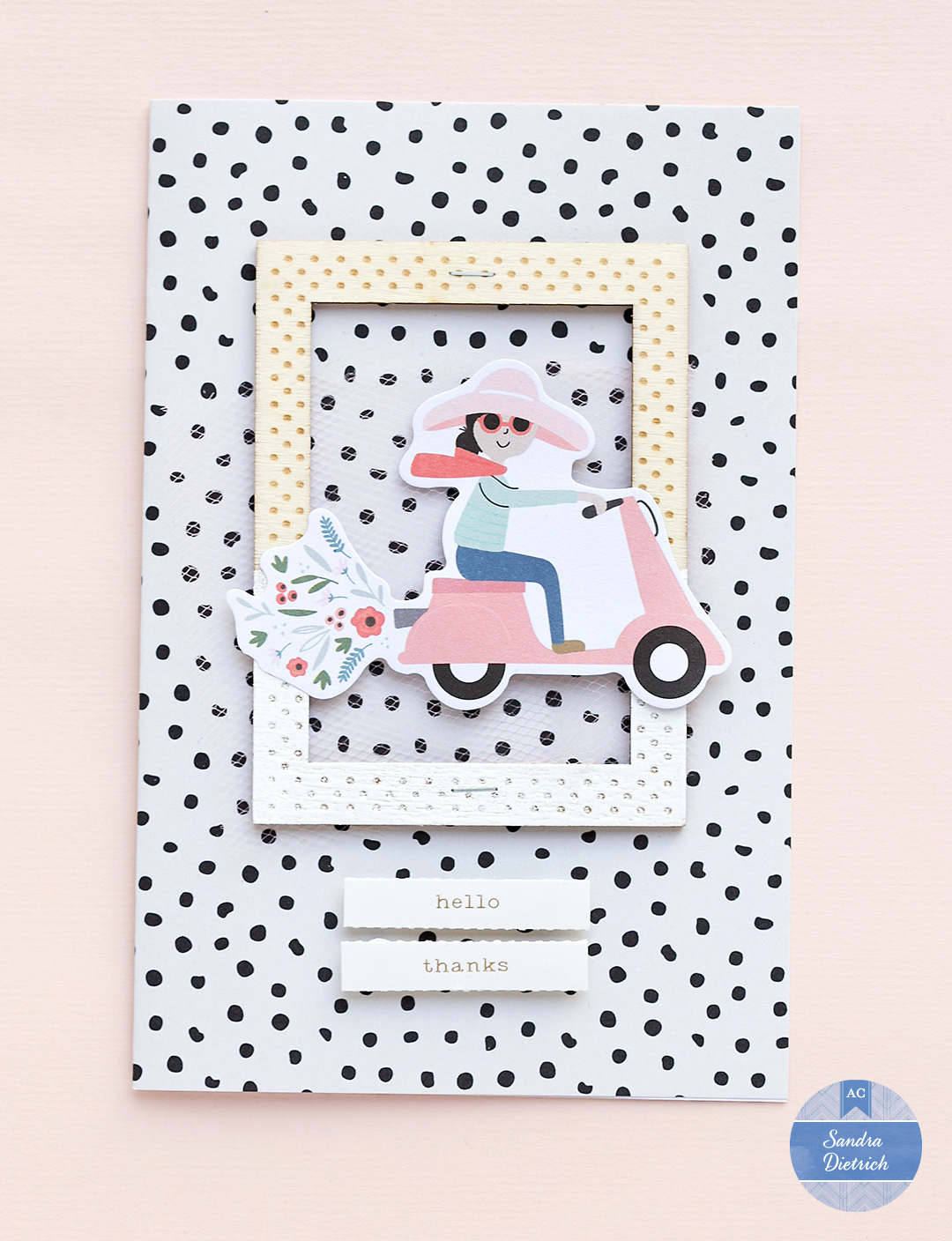 Thank you card with a customized wooden frame. The card shows a girl on a scooter.