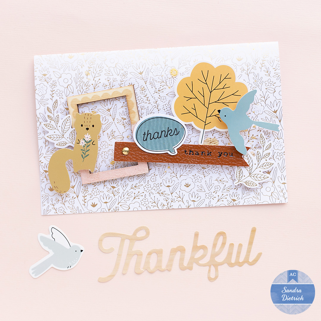 Cute Fall card with wooden frame, leather tag and pretty embellishments from 'The Avenue' by Jen Hadfield.