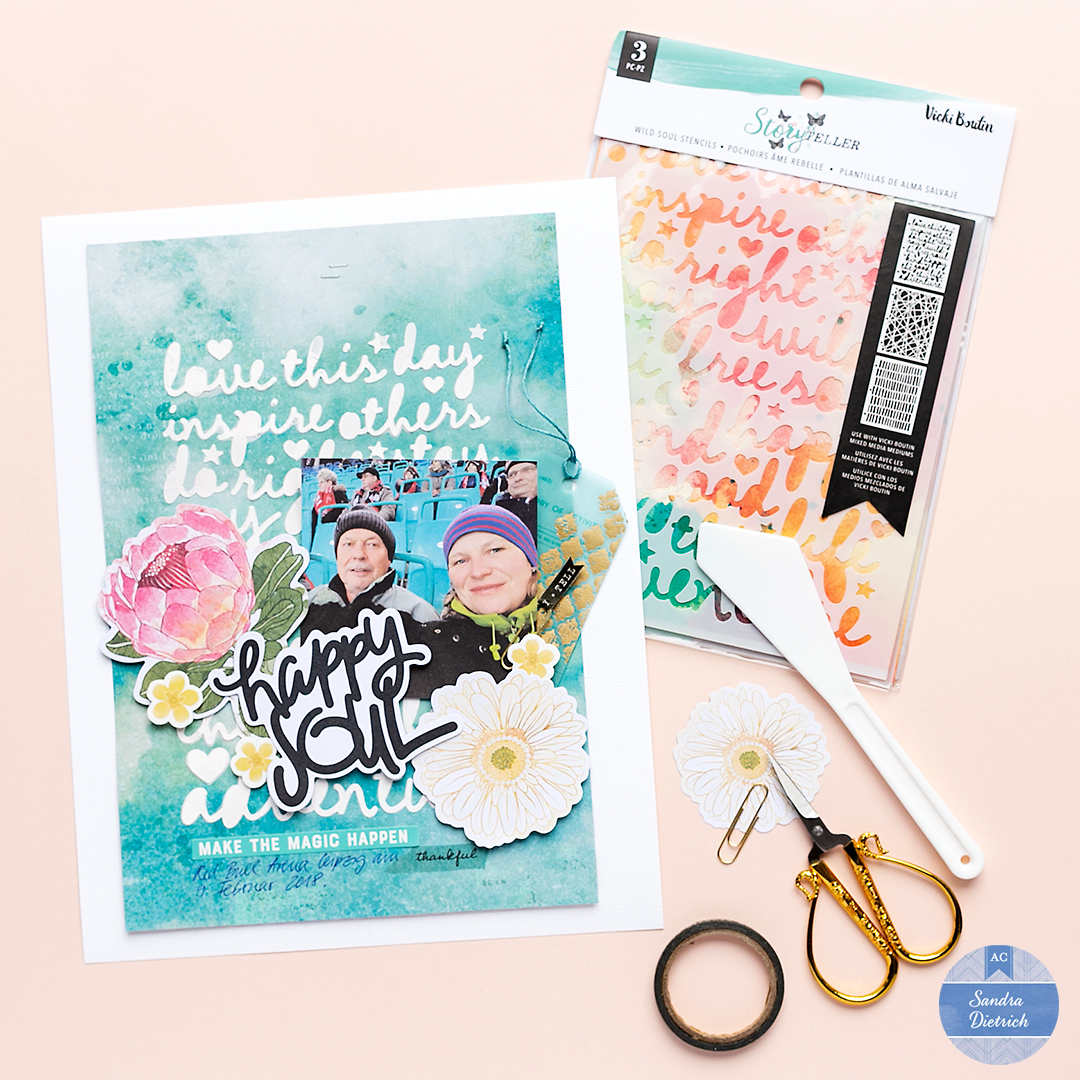 The image shows a scrapbook layout with a customized background. Next to the layout is a stencil pack saying Storyteller by Vicki Boutin.