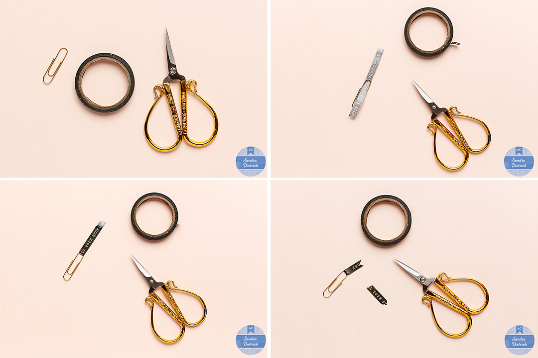 The image shows step-by-step instructions to create a handmade embellishment. A washi-tape spool and a paper clip are shown next to a pair of scissors.