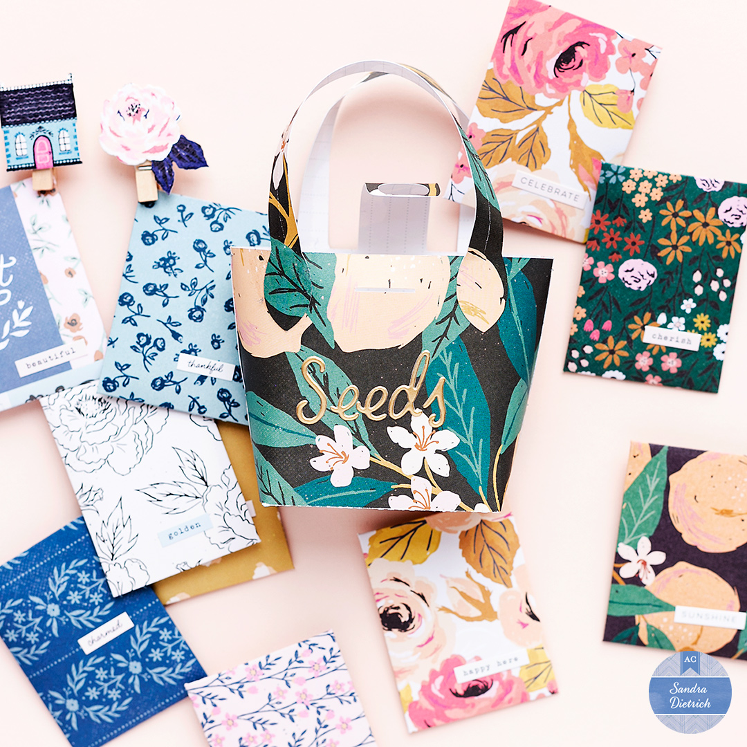 Stylish Seed Storage in a paper purse and lots of paper pockets made with the Pocket Punch Board by We R Memory Keepers.