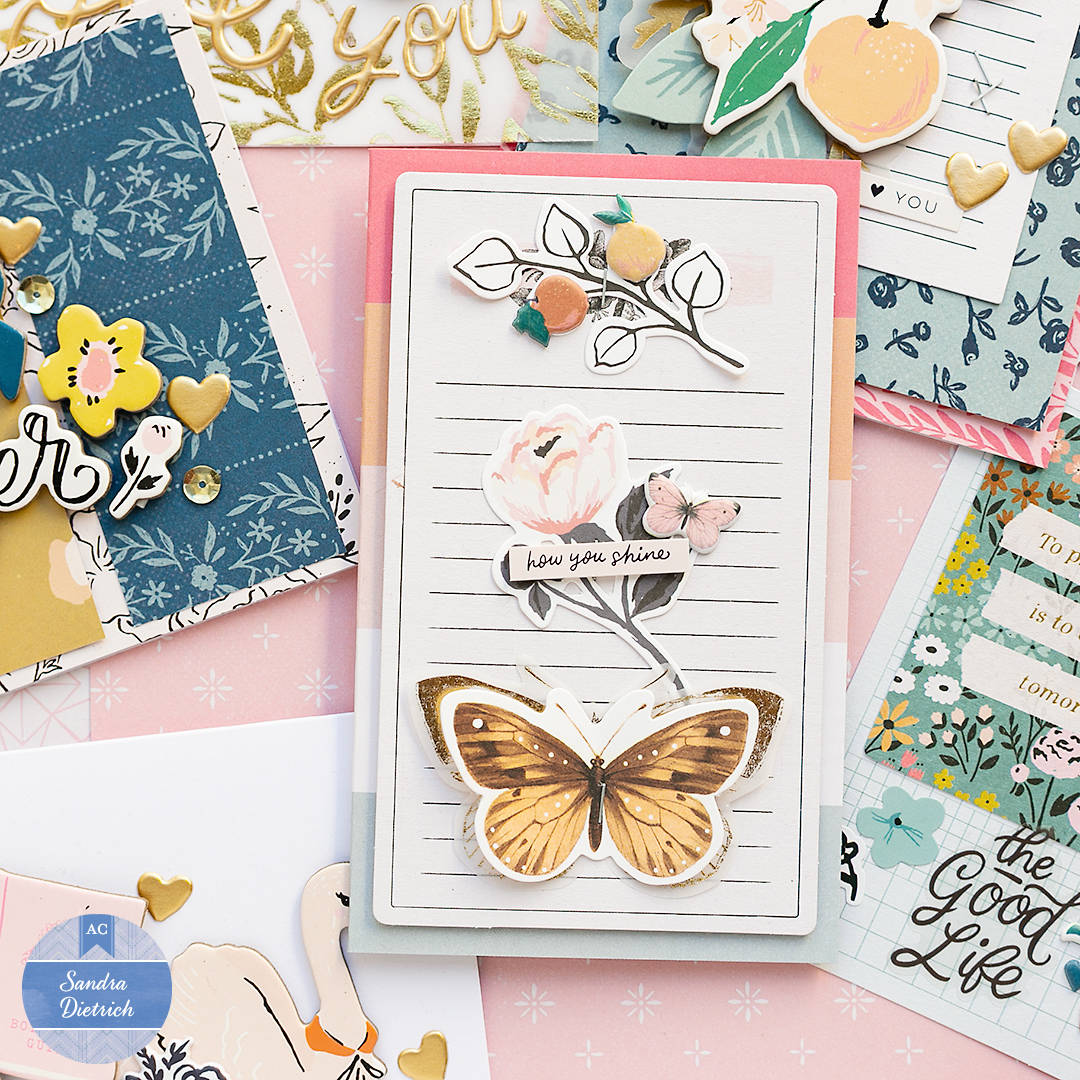 A fun Valentine's Day card with a layered butterfly, a rose ephemera, and the title 'How you shine'.