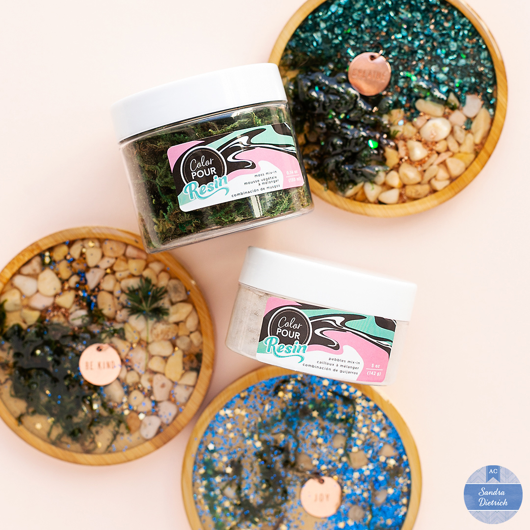 Add pebbles mix-in and moss mix-in from the Color Pour Resin Collection to make pretty wood coasters. Mix resin with hardener and create lasting decorative items.